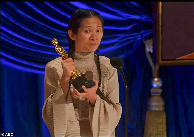 Dedication: 'So this is for anyone who has the faith and the courage to hold on to the goodness in themselves,' Zhao said as grabbed ahold of her Oscar trophy