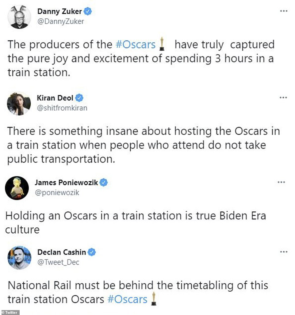 Trainwreck? Twitter stars sounded off about the Oscars being held in a train station this year