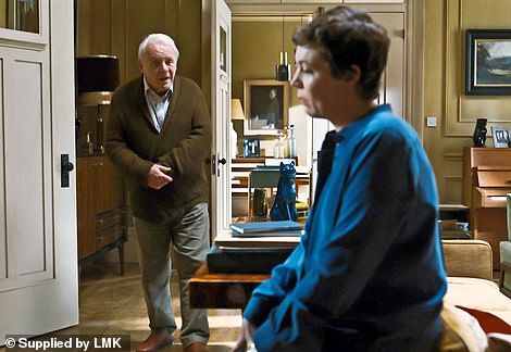 Tour-de-force: Hopkins with Olivia Colman in the new film The Father. This performance as an embattled father raging against his offspring is, perhaps, his most poignant
