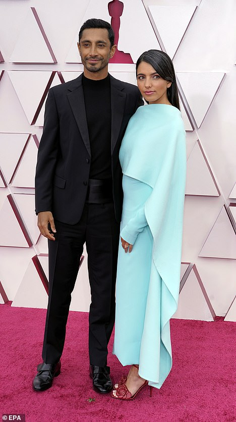 Handsome: Best actor nominee Riz Ahmed, 38, looked dapper as he arrived at the ceremony with his wife Fatima Farheen Mirza