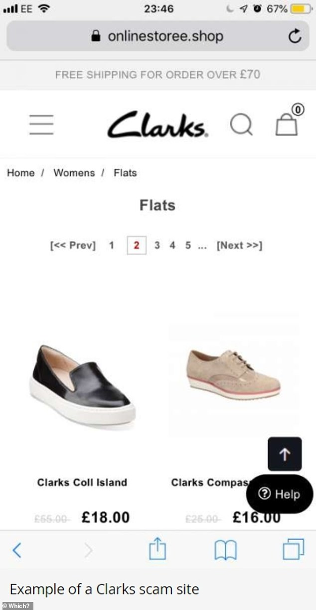 Example of a Clarks scam site. One victim clicked on a website from an ad for 'Clarks shoes outlet sale' that appeared in search listings on Google. The victim said the URL and site design looked just like a legitimate Clarks website, but it wasn't