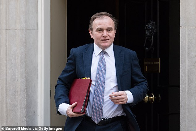 An article in The Mail on Sunday claimed that Miss Symonds had 'pressed for the removal of' Environment Secretary George Eustice (pictured last month) because he was seen as not tough enough on animal welfare issues