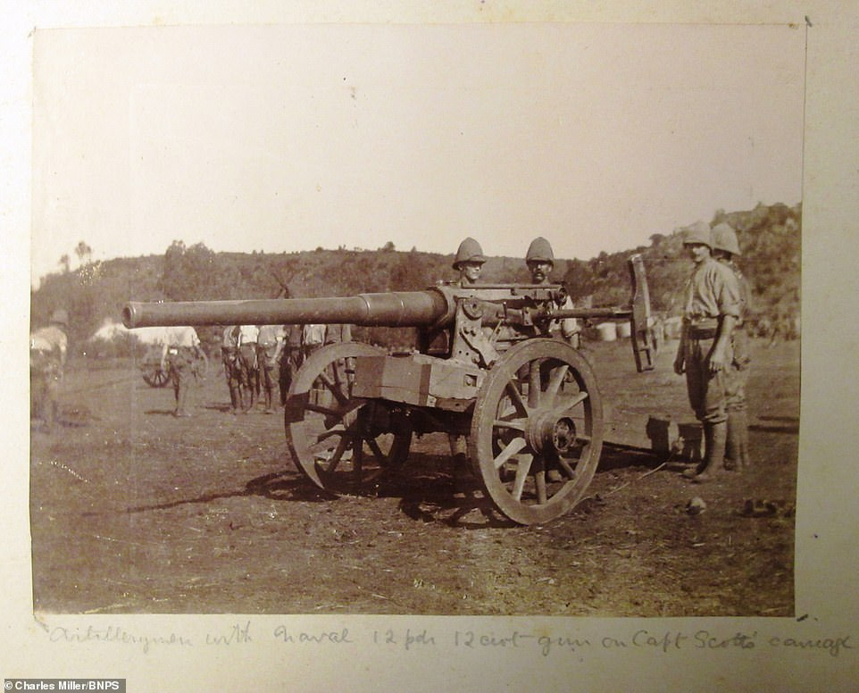 Incredibly, one of the guns re-purposed on the orders of Captain Scott is seen above. The caption said the image showed 'artillery men' with the 'naval' guns mounted on 'Captain Scott's carriage'
