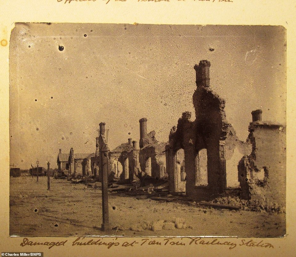 The Second Boer War (11 October 1899 – 31 May 1902) was fought between the British Empire and two independent Boer states, the South African Republic and the Orange Free State, over the Empire's influence in South Africa. Pictured: Damaged buildings at a railway station during the Second Boer War