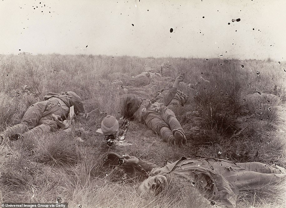 The Second Boer War lasted three years from 1899 to 1902 and would claim 22,000 British and 12,000 African lives. Pictured: Dead English soldiers killed at the battle of Spion Kop