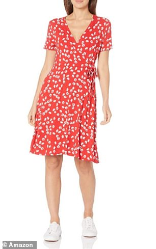 The Amazon Essentials Women's Cap-Sleeve Faux-wrap Dress in Red Tossed Poppy