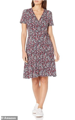 The Amazon Essentials Women's Cap-Sleeve Faux-wrap Dress in Small Navy Multi Floral