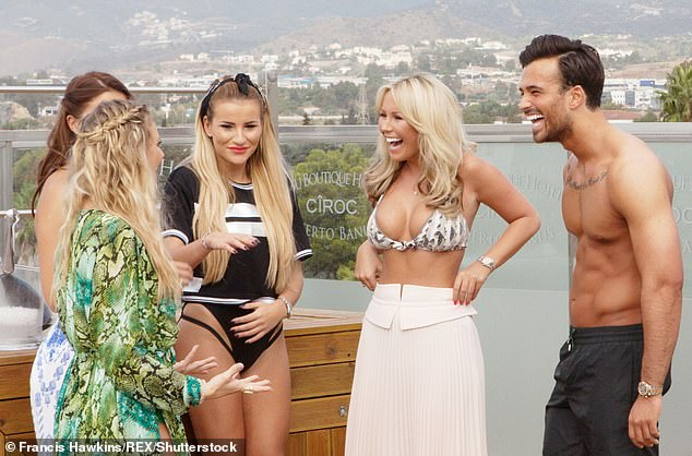 Good times: Mike found fame on TOWIE in 2015 and filmed in Marbella alongside former co-stars Danielle Armstrong, Georgia Kousoulou and Kate Ferdinand (pictured in 2015)