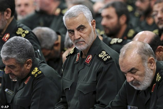 Iran's foreign minister has complained in a leaked recording that the late Revolutionary Guards commander Qassim Soleimani (centre in 2016) forced Tehran to send troops to Syria at Russian President Vladimir Putin's insistence