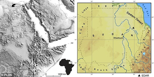 A map of Sudan with the location of the Eastern Desert Atbara River (EDAR) within the Eastern Desert