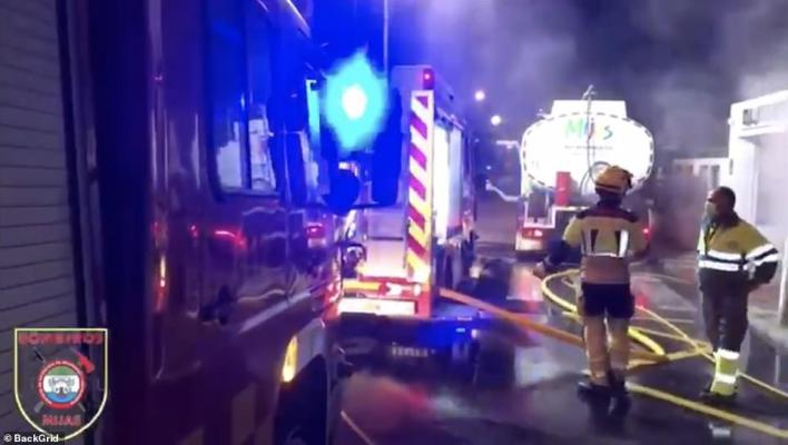 Three fire engines rushed to the scene along with police and paramedics as fire swept through the eatery (pictures from the scene this morning)