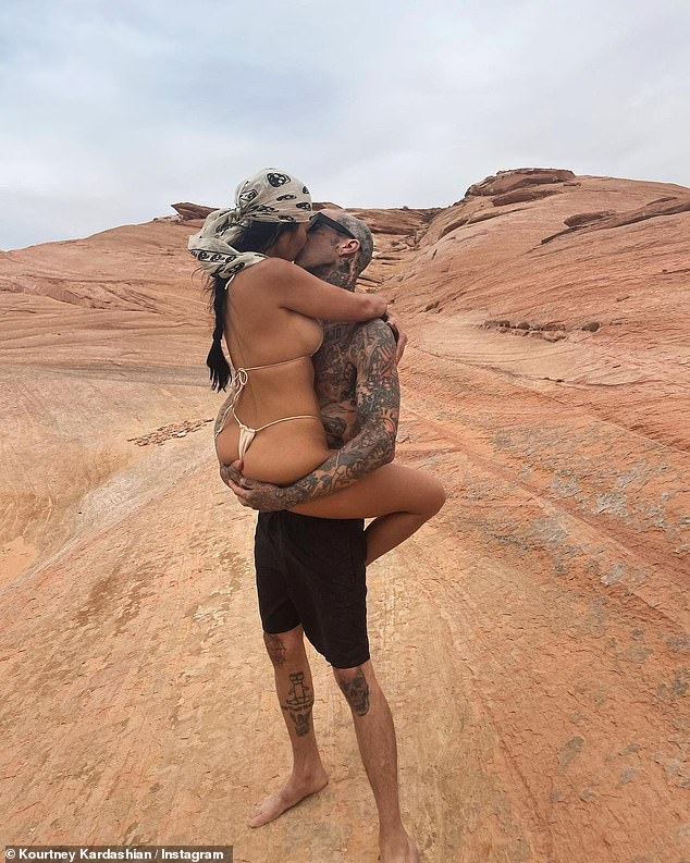 Wow! Kourtney Kardashian straddled boyfriend Travis Barker while wearing a nude thong bikini as the couple took in the sights at the exclusive Amangiri resort in Canyon Point, Utah