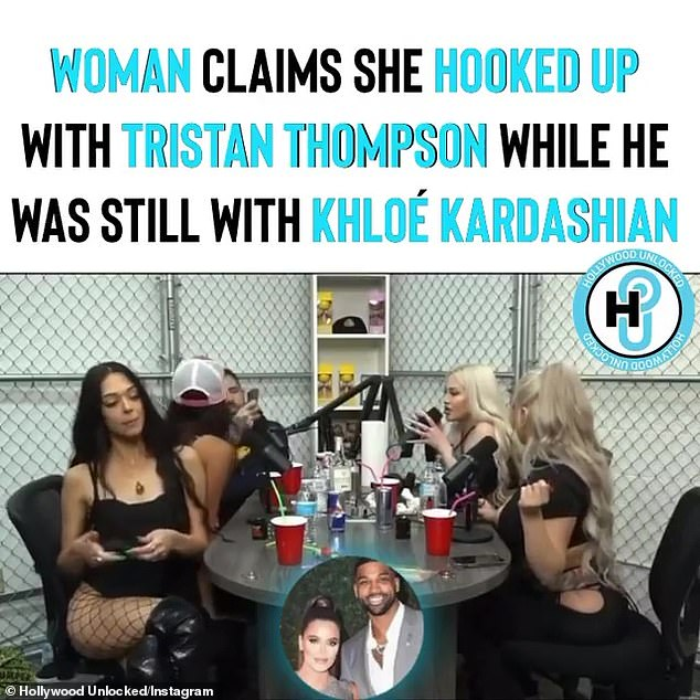 Painful: In an Instagram video, a woman named Sydney (left, wearing a baseball cap) claims she slept with Tristan while he was still with Khloe