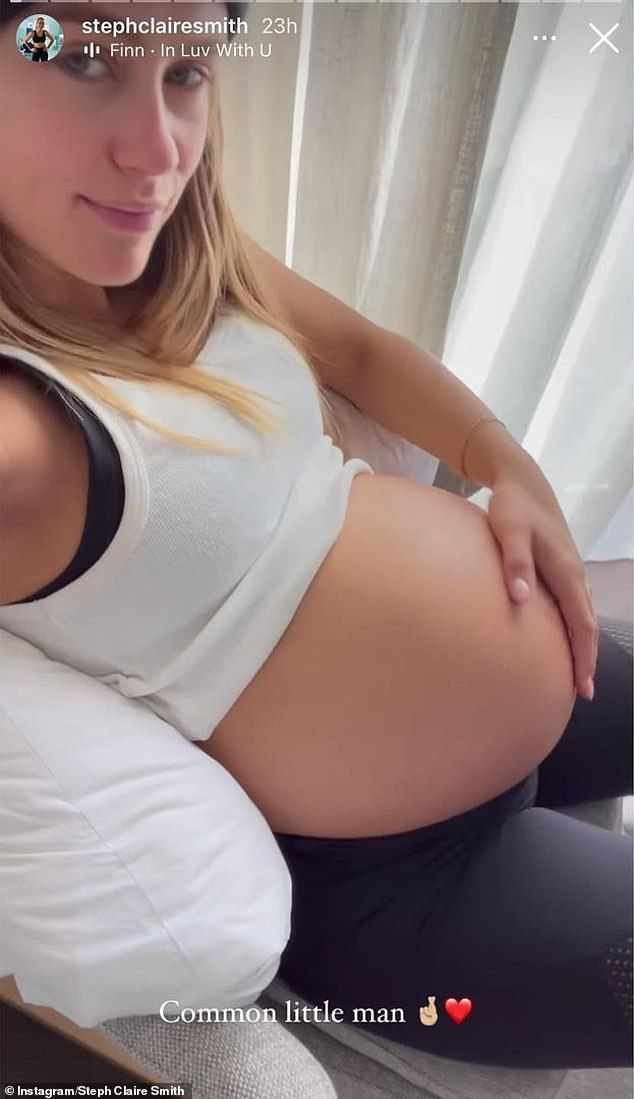 Whoops! Smith accidentally called her unborn son a 'common little man' in an Instagram Story, instead of urging him to 'come on, little man'. The gaffe was picked upon Monday by aCeleb Spellcheckcopycat account