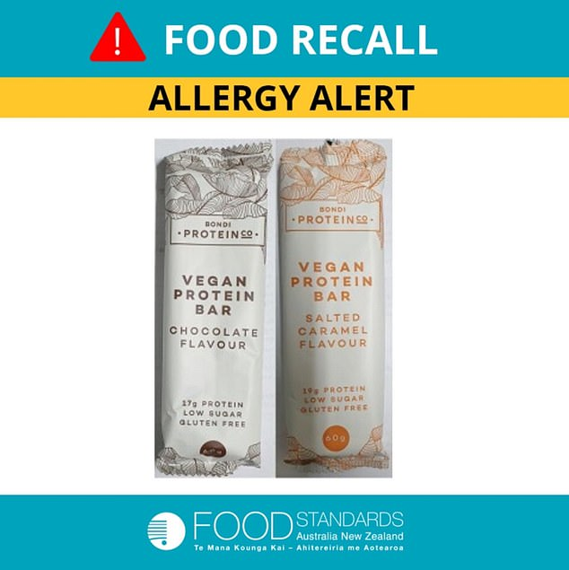 The chocolate flavour and salted caramel flavoured protein bars (pictured) were urgently recalled after they found to have an undeclared allergen