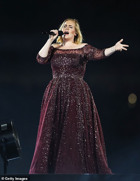 Transformation: Adele pictured in 2017. The songstress has lost a staggering seven stone after transforming her fitness and diet routine