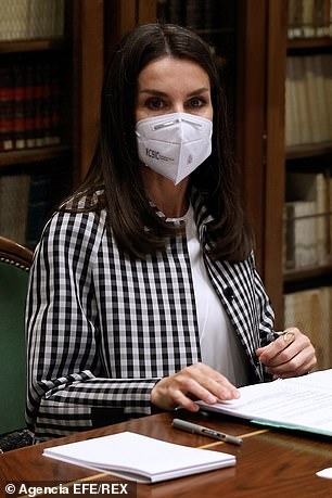 The royal (pictured) sported a face covering in keeping with Spanish safety guidelines to stop the spread of the coronavirus