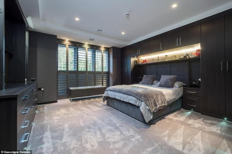 The former Lionesses manager has also installed an underfloor heating and cooling system (one of the six bedrooms pictured)