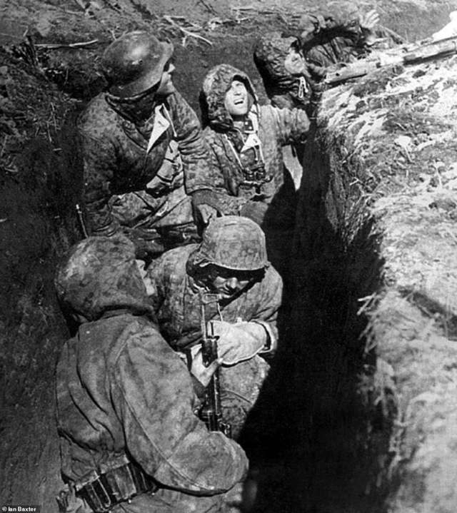Troops from the Waffen-SS are seen above being subjected to Soviet aerial and ground bombardment. The Germans were soaked, freezing and exhausted. They fought on but were overwhelmed in terms of both numbers of soldiers and weapons. It prompted officials to order a retreat - much to Hitler's anger - to prevent them being totally destroyed