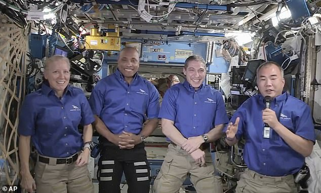 Astronauts (left to right) Shannon Walker,Victor Glover, Michael Hopkins and Soichi Noguchi were set undock from the orbiting laboratory April 28, but poor weather has pushed it to April 30 and splashdown is now scheduled for May 1