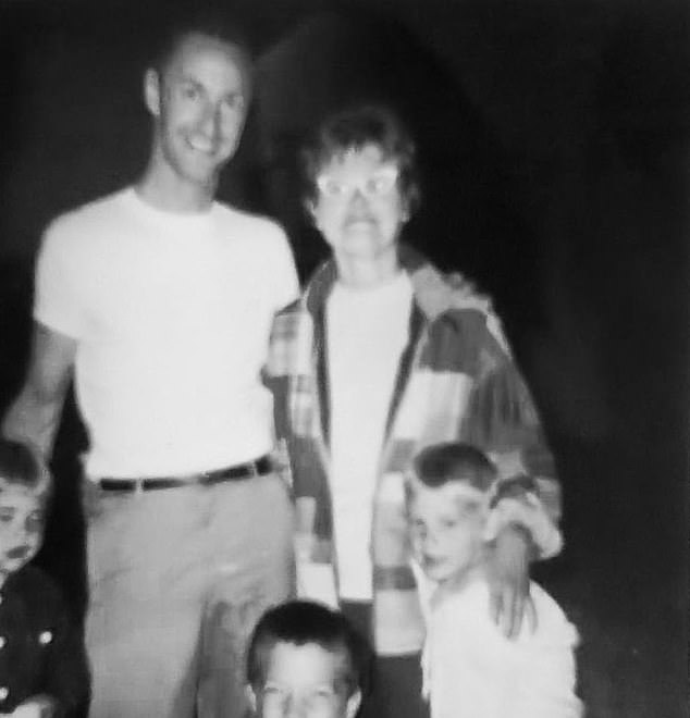 Memories: Reid shared several throwback snaps with his stepfather, including a black and white photo of Ron and his mother surrounded by Richard and his siblings