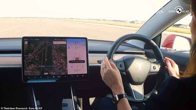 Autopilot criticised: A world's first comparative test of vehicle makers' driver assistance features last year found that Tesla performed well for safety but was wrongly encouraging owners to relinquish too much control to the car. Safety experts fear the Government's use of the term 'self-driving technology' will encourage drivers to misuse vehicles fitted with ALKS