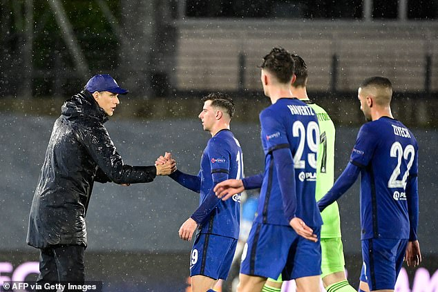 Instead of shaking hands with Courtois, Tuchel focused on congratulating his own players