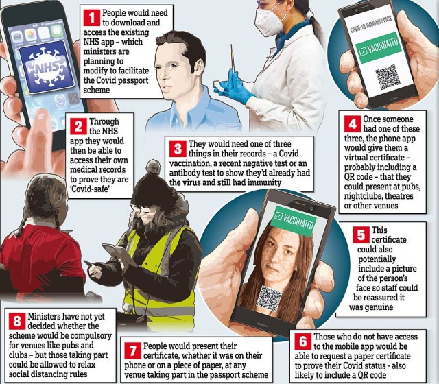 Millions could go to pubs with no social distancing under plans to let drinkers use mobile phones to prove they are free of Covid. This graphic shows how the app would have worked