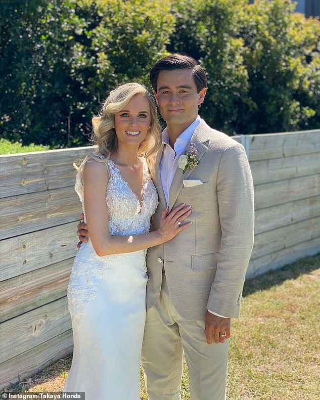 Bittersweet: He also shared that happy occasions, including his recent beach wedding to his fiancée Amy Schwab (pictured), have a tinge of sadness because of his mother's condition saying: 'She (his mother) can't experience it in the way that she dreamed of'