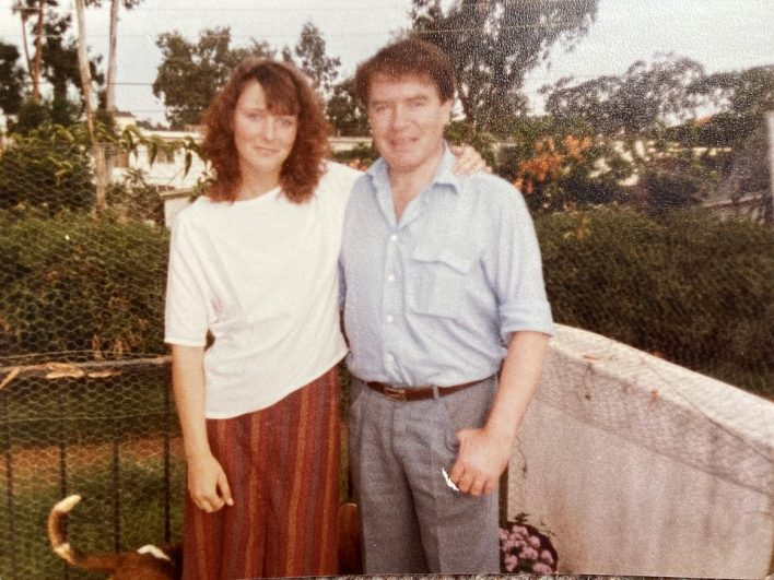 At 21 years-old, Kim met her husband, Jonathan, a meeting that would signal the end of the abuse. Kim is pictured withBeaumont at the age of 21