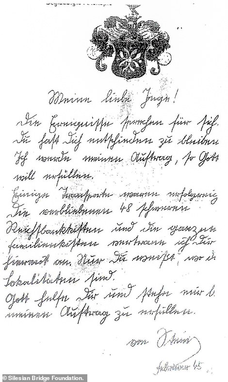 Among the bundle of documents is a letter (pictured) from a senior SS officer called von Stein to one of the girls who worked at the palace in Minkowskie and who later became his lover. The officer wrote: 'My dear Inge, I will fufill my assignment, with God's will. Some transports were successful. The remaining 48 heavy Reichsbank's chests and all the family chests I hereby entrust to you. 'Only you know where they are located. May God help you and help me, fulfil my assignment'
