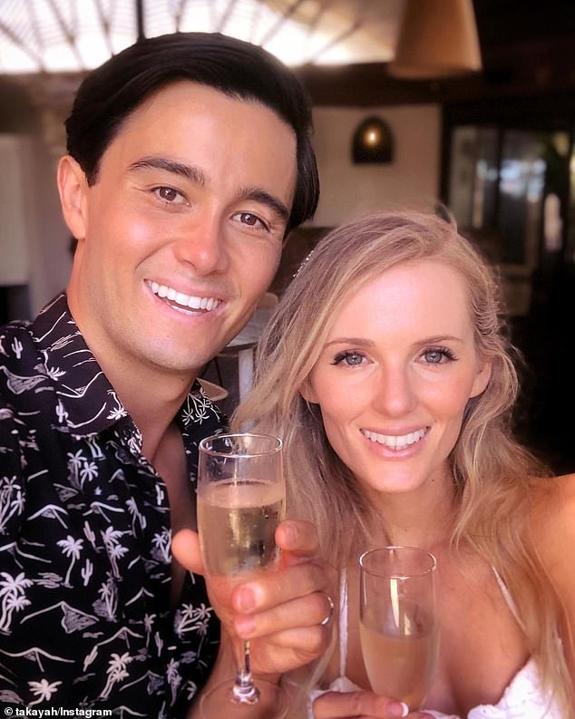 Wedded bliss: Takaya proposed in Byron Bay, popping the question at sunset on the beach. The couple had been dating for five years