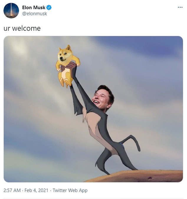 Musk has been heavily promoting Dogecoin with online jokes and memes since February