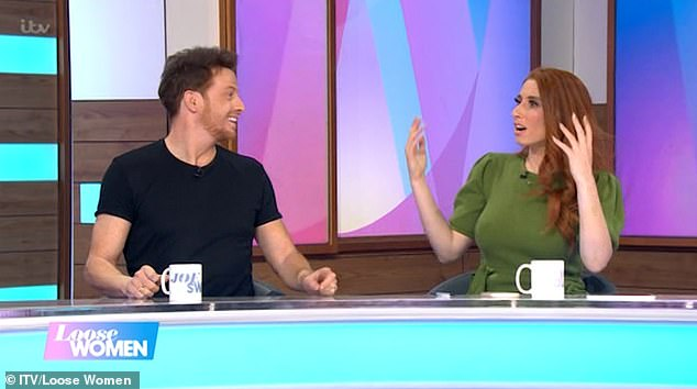 Whoops: Joe Swash faced the wrath of his fiancée Stacey Solomon after he accidentally revealed their wedding date on Loose Women on Wednesday