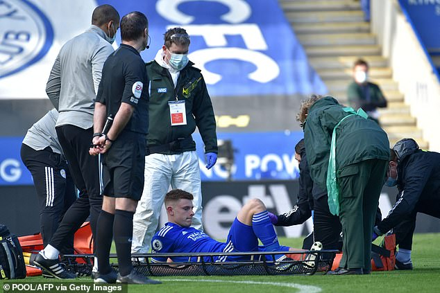 Barnes was carried from the field on a stretcher during Leicester's loss to Arsenal in February