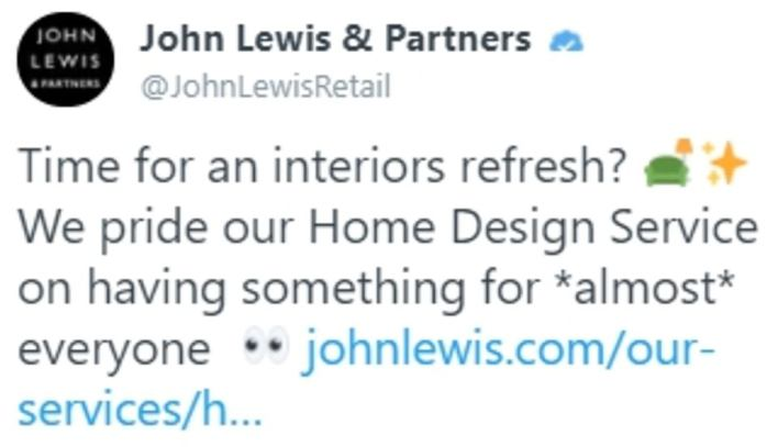 John Lewis threw shade on the PM by tweeting that it has furniture to please 'almost everyone' - after reports that Carrie Symonds regarded the decor in No11 was a 'John Lewis nightmare'