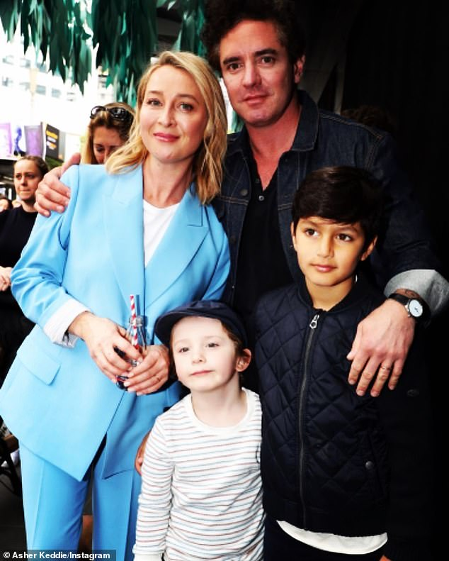 Family: Asher and Vincent went on to welcome a son of their own, Valentino, six, (centre), in March 2015. She is also stepmother toVincent's son from a previous marriage,Luca, 11 (right)