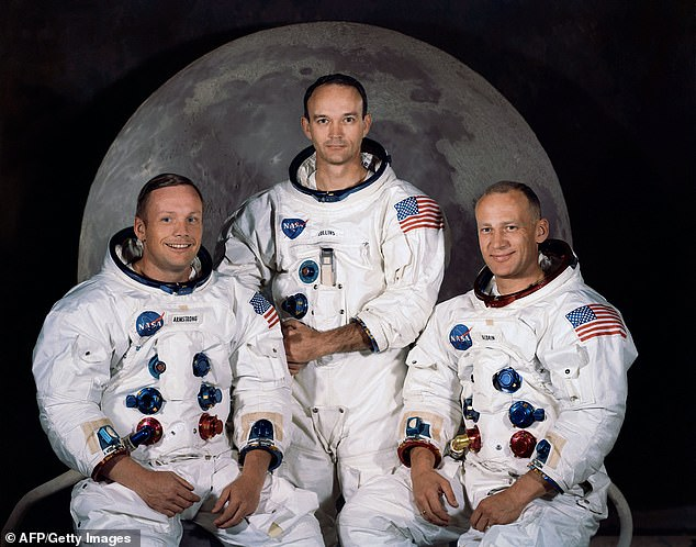 Collins (center) was part of the Apollo 11 mission along with Neil Armstrong (left) and Buzz Aldrin (right). The trio made history in 1969 as the first humans to walk on the moon