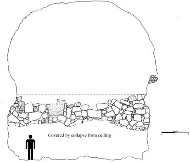 Los investigadores encontraron que cuando la lava de la erupción comenzó a enfriarse, los vikingos entraron en la cueva y construyeron la 'estructura en forma de barco'.