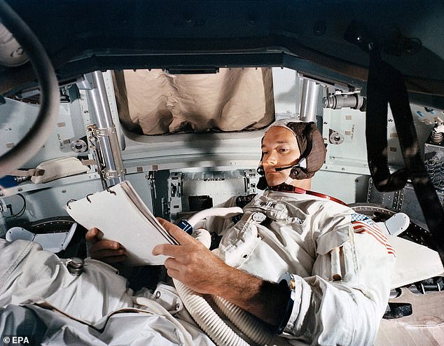 Collins has been referred to as 'The Forgotten Man' during the Apollo 11 lunar landing, as he circled above while Armstrong and Aldrin. Here is Collins in a practice simulator at Kennedy Space Center as he prepared for the lunar mission