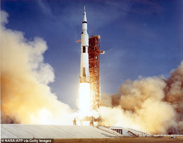 Pictured is the Apollo 11 Saturn V rocket that took Collins, Armstrong and Aldrin to space on July 16, 1969