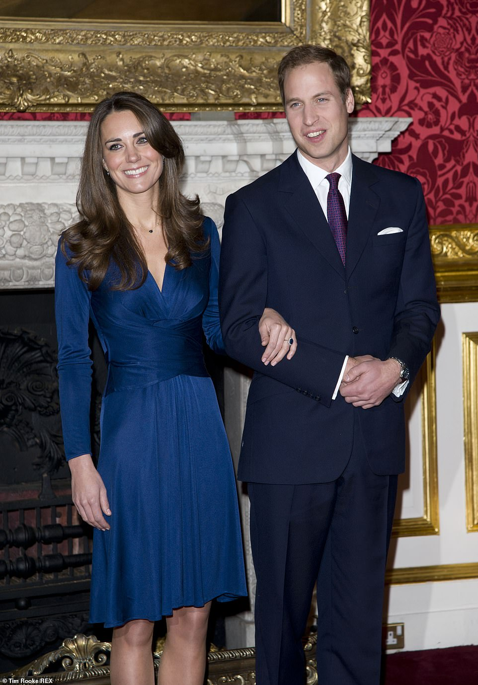 William proposed during a holiday in Kenya in October 2010 after asking Kate's father for his daughter's hand following a marathon eight-year courtship. Pictured, in her engagement pictures with Prince William, taken on 16 November 2010