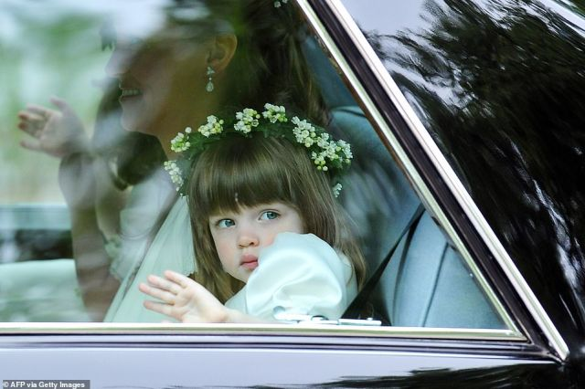 Eliza - the granddaughter of Prince William's stepmother Camilla, Duchess of Cornwall - was just three when she took on the role of flower girl in front of the nation at the royal wedding (pictured)