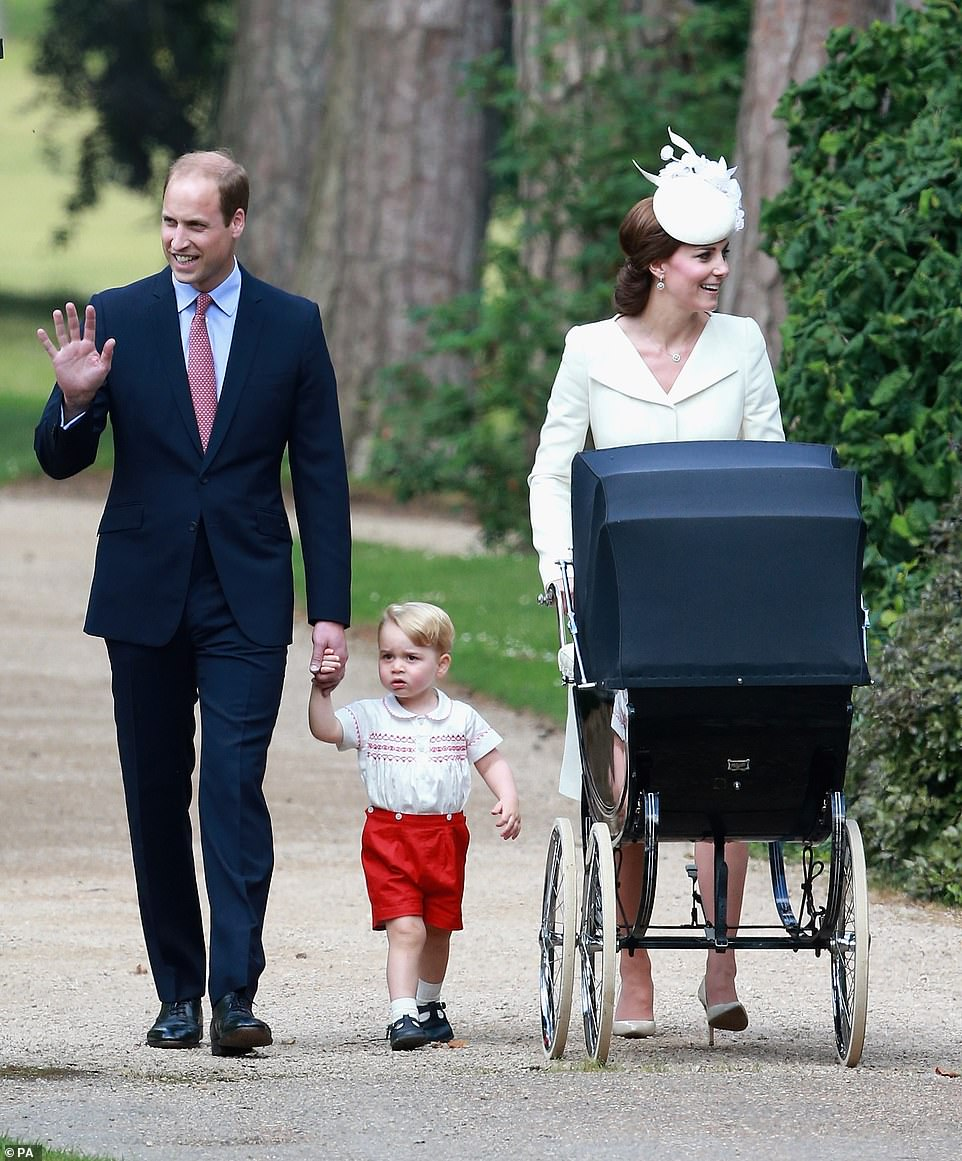 Duke and Duchess of Cambridge with Prince George and Princess Charlotte pushed to her christening at the Church of St Mary Magdalene in Sandringham, Norfolk on 5 July 2015
