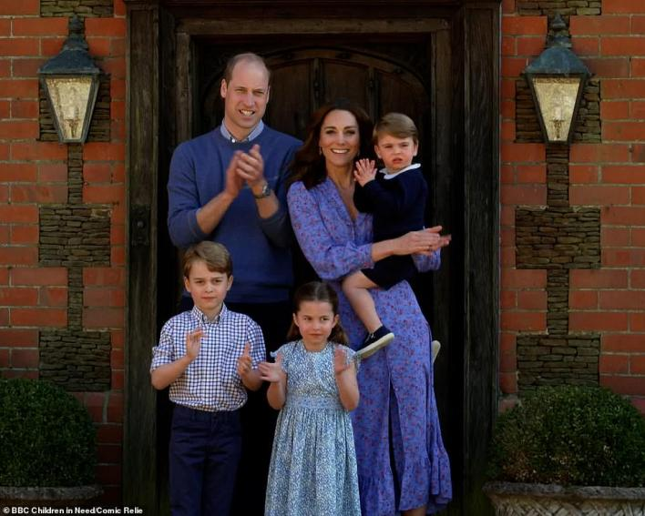 Duke and Duchess of Cambridge are joined by their children Prince George, Princess Charlotte and Prince Louis as they join clap for NHS carers as part of the BBC Children In Need and Comic Relief 'Big Night In at London on April 23, 2020 in London