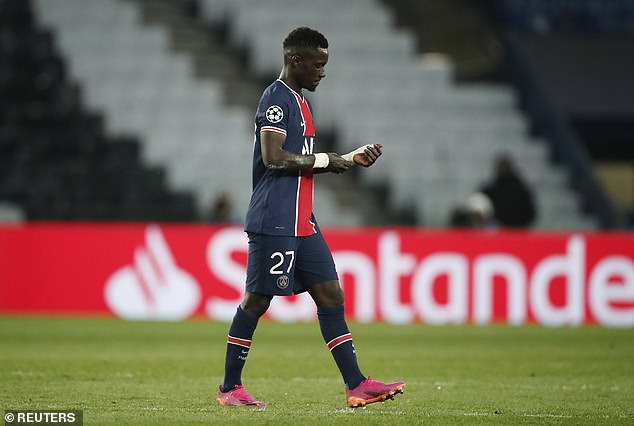 PSG midfielder Idrissa Gueye was sent off during their 2-1 defeat by Manchester City
