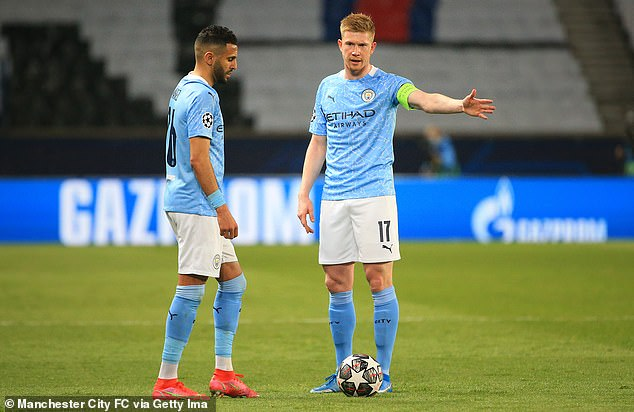 Riyad Mahrez lines up his free-kick after asking Kevin de Bruyne if he could take it