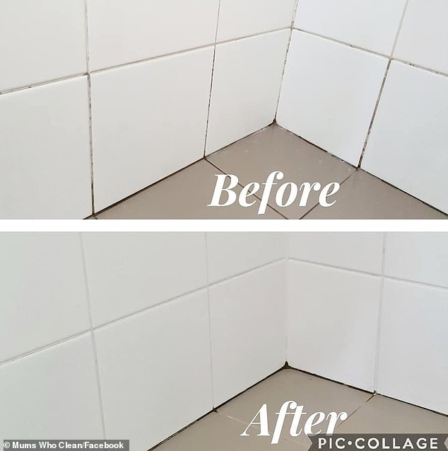 Sharing before and after images on Facebook, mother-of-two Natalie said she regularly cleans her bathroom but had trouble removing the dark stains on the grout