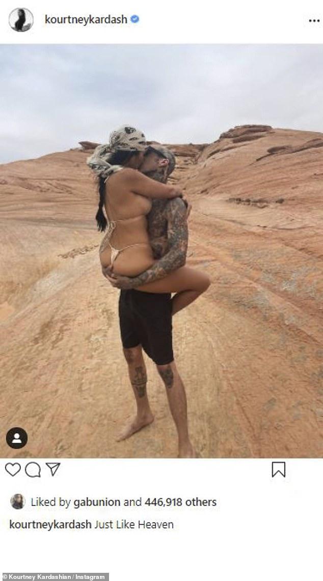 Familiar: la leyenda 'Just Like Heaven' de Hadid sonó algunas campanas para sus seguidores, ya que fue utilizada recientemente por Kourtney Kardashian en una instantánea ardiente de ella y su novio Travis Barker.