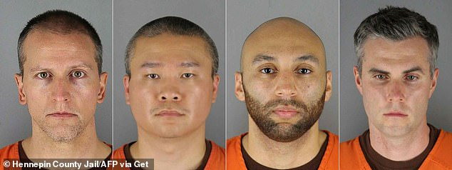 Derek Chauvin, Tou Thao, J. Alexander Kueng and Thomas Lane left to right in booking photos in June. They were all arraigned on federal hate crimes charges Tuesday